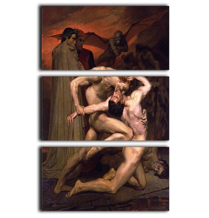 Dante And Virgil In Hell By Bouguereau 3 Split Panel Canvas Print