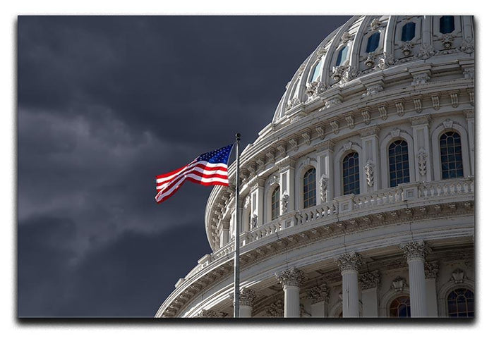 Dark sky over the US Capitol building Canvas Print or Poster