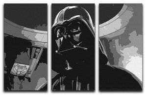 Darth Vader Two Tone 3 Split Panel Canvas Print - Canvas Art Rocks