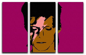 David Bowie Ziggy Stardust 3 Split Panel Canvas Print - Canvas Art Rocks - 1