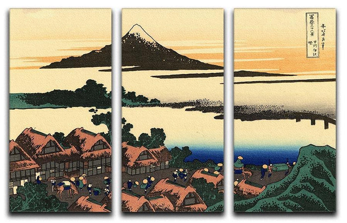 Dawn at Isawa in the Kai province by Hokusai 3 Split Panel Canvas Print