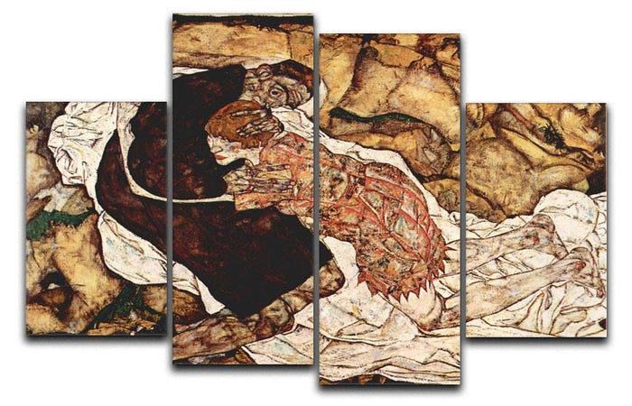 Death and the Woman by Egon Schiele 4 Split Panel Canvas