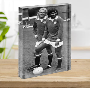 Denis Law and George Best in 1972 Acrylic Block - Canvas Art Rocks - 2