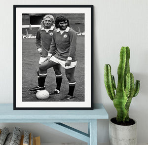 Denis Law and George Best in 1972 Framed Print - Canvas Art Rocks - 1