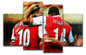 Dennis Bergkamp and Thierry Henry 4 Split Panel Canvas  - Canvas Art Rocks - 1