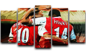 Dennis Bergkamp and Thierry Henry 5 Split Panel Canvas  - Canvas Art Rocks - 1