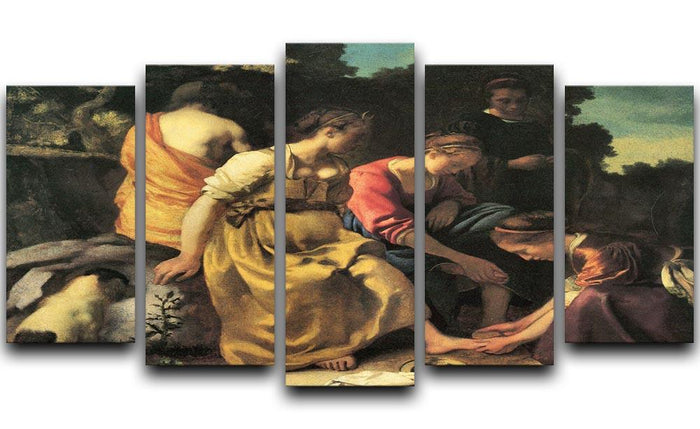 Diana and her nymphs by Vermeer 5 Split Panel Canvas