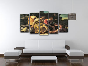 Diana and her nymphs by Vermeer 5 Split Panel Canvas - Canvas Art Rocks - 3