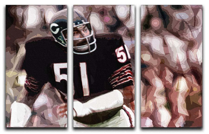 Dick Butkus Chicago Bears 3 Split Panel Canvas Print