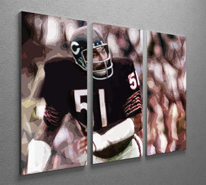 Dick Butkus Chicago Bears 3 Split Panel Canvas Print - Canvas Art Rocks - 2