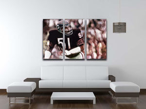 Dick Butkus Chicago Bears 3 Split Panel Canvas Print - Canvas Art Rocks - 3