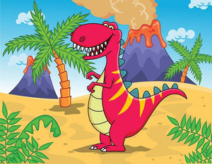 Dinosaur Volcano Cartoon Wall Mural Wallpaper - Canvas Art Rocks - 1