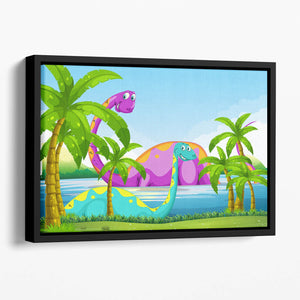 Dinosaur having fun in the lake Floating Framed Canvas