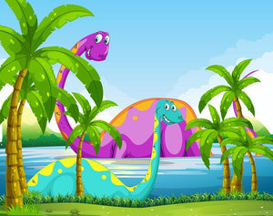 Dinosaur having fun in the lake Wall Mural Wallpaper - Canvas Art Rocks - 1
