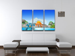 Dinosaur living by the lake 3 Split Panel Canvas Print - Canvas Art Rocks - 3