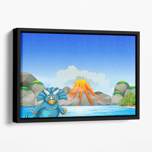 Dinosaur living by the lake Floating Framed Canvas