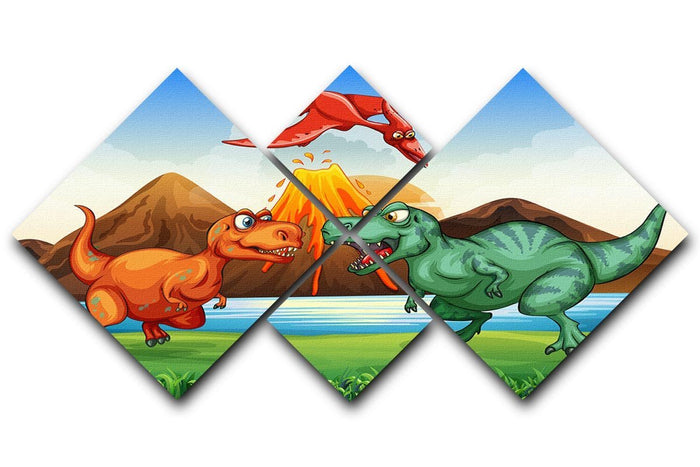 Dinosaurs fighting 4 Square Multi Panel Canvas