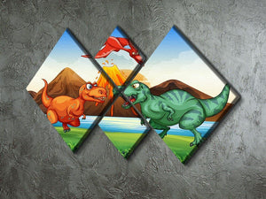 Dinosaurs fighting 4 Square Multi Panel Canvas - Canvas Art Rocks - 2