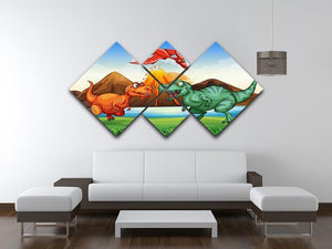 Dinosaurs fighting 4 Square Multi Panel Canvas - Canvas Art Rocks - 3