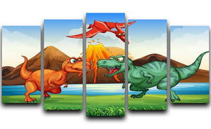 Dinosaurs fighting 5 Split Panel Canvas  - Canvas Art Rocks - 1