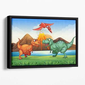 Dinosaurs fighting Floating Framed Canvas