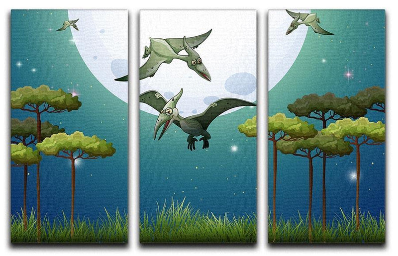 Dinosaurs flying on fullmoon 3 Split Panel Canvas Print - Canvas Art Rocks - 1
