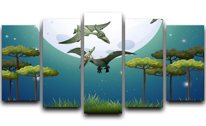 Dinosaurs flying on fullmoon 5 Split Panel Canvas