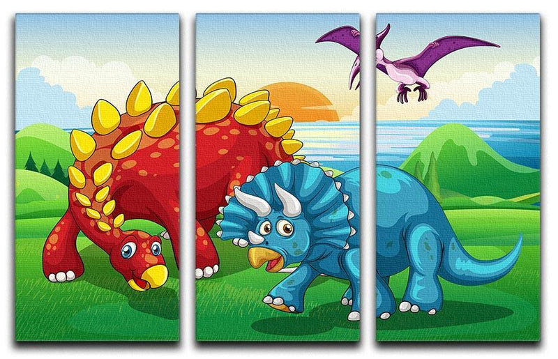 Dinosaurs in the park 3 Split Panel Canvas Print - Canvas Art Rocks - 1