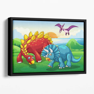 Dinosaurs in the park Floating Framed Canvas