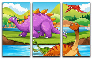 Dinosaurs living by the river 3 Split Panel Canvas Print - Canvas Art Rocks - 1