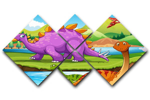 Dinosaurs living by the river 4 Square Multi Panel Canvas  - Canvas Art Rocks - 1