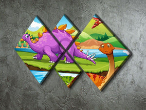 Dinosaurs living by the river 4 Square Multi Panel Canvas - Canvas Art Rocks - 2