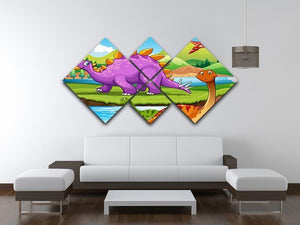 Dinosaurs living by the river 4 Square Multi Panel Canvas - Canvas Art Rocks - 3