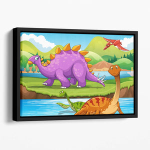 Dinosaurs living by the river Floating Framed Canvas