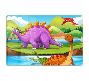 Dinosaurs living by the river HD Metal Print