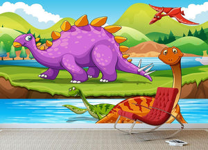 Dinosaurs living by the river Wall Mural Wallpaper - Canvas Art Rocks - 3