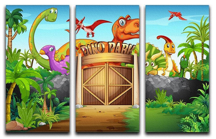 Dinosaurs living in Dino park 3 Split Panel Canvas Print