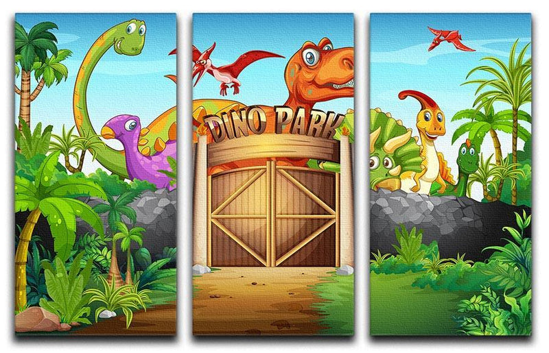 Dinosaurs living in Dino park 3 Split Panel Canvas Print - Canvas Art Rocks - 1