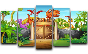 Dinosaurs living in Dino park 5 Split Panel Canvas  - Canvas Art Rocks - 1