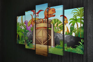 Dinosaurs living in Dino park 5 Split Panel Canvas - Canvas Art Rocks - 2