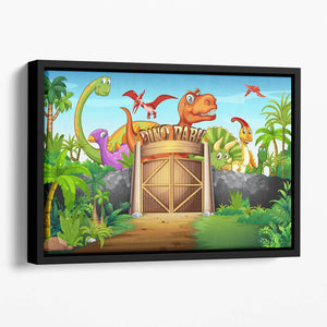 Dinosaurs living in Dino park Floating Framed Canvas