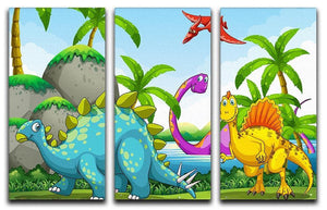 Dinosaurs living in the jungle 3 Split Panel Canvas Print - Canvas Art Rocks - 1