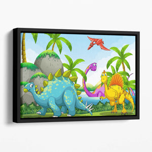 Dinosaurs living in the jungle Floating Framed Canvas