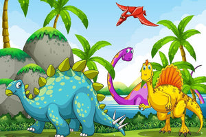 Dinosaurs living in the jungle Wall Mural Wallpaper - Canvas Art Rocks - 1