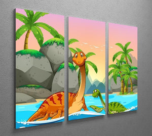 Dinosaurs living in the ocean 3 Split Panel Canvas Print - Canvas Art Rocks - 2