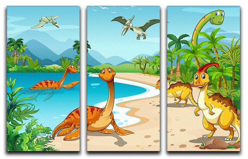 Dinosaurs living on the beach 3 Split Panel Canvas Print - Canvas Art Rocks - 1