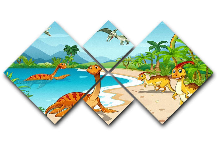 Dinosaurs living on the beach 4 Square Multi Panel Canvas