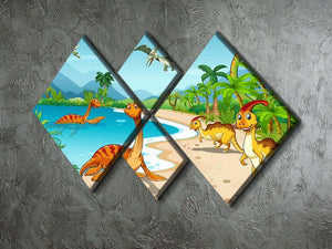 Dinosaurs living on the beach 4 Square Multi Panel Canvas - Canvas Art Rocks - 2