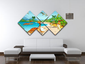 Dinosaurs living on the beach 4 Square Multi Panel Canvas - Canvas Art Rocks - 3