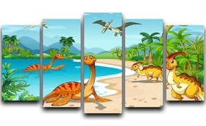 Dinosaurs living on the beach 5 Split Panel Canvas  - Canvas Art Rocks - 1